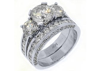 4.5 CARAT DIAMOND ENGAGEMENT RING WEDDING BAND BRIDAL SET ROUND CUT WHITE GOLD