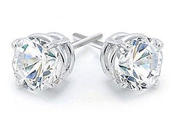 2 CARAT BRILLIANT ROUND CUT DIAMOND STUD EARRINGS 14KT WHITE GOLD SI
