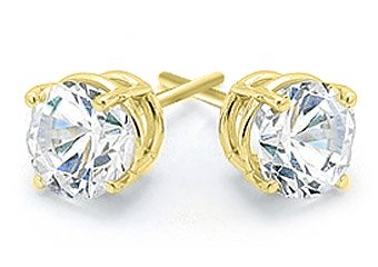 1/4 CARAT BRILLIANT ROUND CUT DIAMOND STUD EARRINGS 14K YELLOW GOLD I1