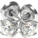 4/5 CARAT BRILLIANT ROUND CUT DIAMOND STUD EARRINGS 14KT WHITE GOLD SI