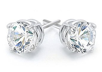 1 CARAT BRILLIANT ROUND CUT DIAMOND STUD EARRINGS 14KT WHITE GOLD VS