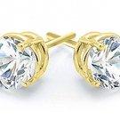 2 CARAT BRILLIANT ROUND CUT DIAMOND STUD EARRINGS 14K YELLOW GOLD I1