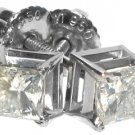 WOMENS 950 PLATINUM SQUARE PRINCESS CUT DIAMOND STUD EARRINGS PAIR
