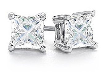 1/2 CARAT PRINCESS SQUARE CUT DIAMOND STUD EARRINGS WHITE GOLD SI2-3 H-I