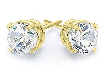 1 CARAT BRILLIANT ROUND CUT DIAMOND STUD EARRINGS 14K YELLOW GOLD VS