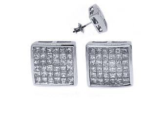 1 CARAT PRINCESS SQUARE CUT DIAMOND STUD EARRINGS INVISIBLE 14KT WHITE GOLD