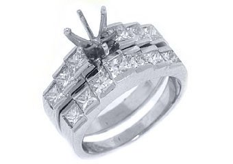 1.7 CARAT WOMENS DIAMOND ENGAGEMENT RING SEMI-MOUNT SET PRINCESS CUT WHITE GOLD