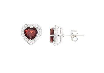 2.28 CARAT GARNET & DIAMOND STUD HALO EARRINGS 6mm HEART SHAPE JAN BIRTH STONE