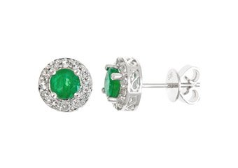 1.42CT EMERALD & TOPAZ HALO STUD EARRINGS 5mm ROUND MAY BIRTH STONE