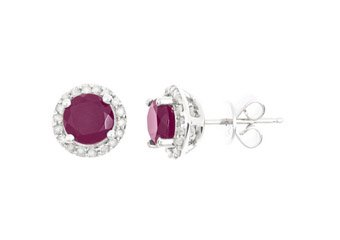 2.27 CARAT RUBY & DIAMOND STUD HALO EARRINGS 6mm ROUND CUT JULY BIRTH STONE