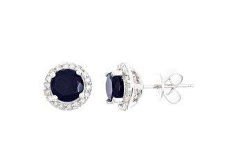 2.27 CARAT SAPPHIRE & DIAMOND STUD HALO EARRINGS 6mm ROUND SEPTEMBER BIRTH STONE