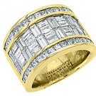 MENS 6 CARAT PRINCESS BAGUETTE CUT DIAMOND RING WEDDING BAND 18KT YELLOW GOLD