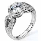 WOMENS DIAMOND ENGAGEMENT HALO RING ROUND CUT 1.48 CARAT 18K WHITE GOLD