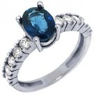 WOMENS BLUE SAPPHIRE DIAMOND ENGAGEMENT RING 2.14 CARAT OVAL SHAPE WHITE GOLD