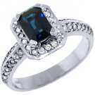 WOMENS BLUE SAPPHIRE DIAMOND ENGAGEMENT HALO RING EMERALD ROUND CUT WHITE GOLD