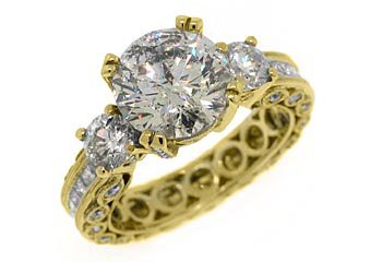 4.5 CARAT WOMENS 3-STONE PAST PRESENT FUTURE DIAMOND RING ROUND CUT YELLOW GOLD