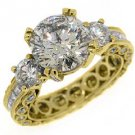 4.5 CARAT WOMENS 3-STONE PAST PRESENT FUTURE DIAMOND RING ROUND CUT YELLOW GOLD