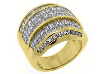 5 CARAT WOMENS PRINCESS CUT INVISIBLE DIAMOND RING WEDDING BAND YELLOW GOLD