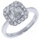 1.14 CARAT WOMENS DIAMOND ENGAGEMENT HALO RING ROUND BAGUETTE CUT WHITE GOLD