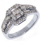 .88 CARAT WOMENS ROUND BAGUETTE CUT DIAMOND HALO ENGAGEMENT RING WHITE GOLD