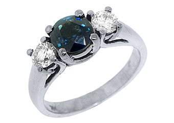 WOMENS BLUE SAPPHIRE DIAMOND ENGAGEMENT RING 3 STONE ROUND CUT WHITE GOLD