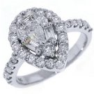 1.37 CARAT WOMENS ANTIQUE PEAR SHAPE DIAMOND HALO ENGAGEMENT RING 14K WHITE GOLD
