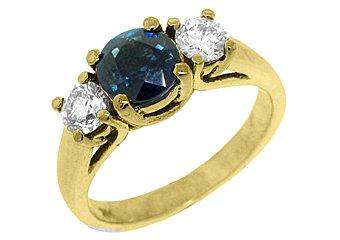 WOMENS BLUE SAPPHIRE DIAMOND ENGAGEMENT RING 3 STONE ROUND CUT YELLOW GOLD