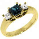 WOMENS BLUE SAPPHIRE DIAMOND ENGAGEMENT RING 3 STONE PRINCESS CUT YELLOW GOLD