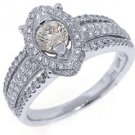 1 CARAT WOMENS ANTIQUE ROUND CUT DIAMOND HALO ENGAGEMENT RING 14K WHITE GOLD