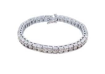 "WOMENS ROUND DIAMOND BOX TENNIS BRACELET 12 CARAT 14KT WHITE GOLD 7"" INCH"