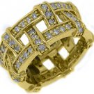 WOMENS DIAMOND ETERNITY BAND WEDDING RING PAVE SET 1.5 CARAT 14KT YELLOW GOLD
