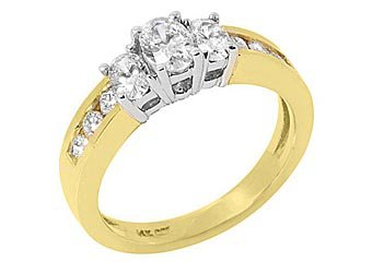 1.4 CARAT OVAL 3-STONE PAST PRESENT FUTURE DIAMOND RING TWO-TONE YELLOW GOLD