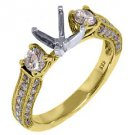 1.10 CARAT WOMENS DIAMOND ENGAGEMENT RING SEMI-MOUNT ROUND CUT YELLOW  GOLD