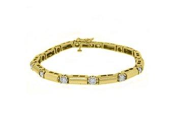 WOMENS DIAMOND TENNIS LINK BRACELET 1.86 CARAT ROUND CUT 14KT YELLOW GOLD SI H
