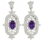 1.84 CARAT AMETHYST DIAMOND DANGLE EARRINGS STERLING SILVER FEBRUARY BIRTHSTONE