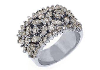 1.5CT WOMENS BRILLIANT ROUND MARQUISE CUT DIAMOND RING WEDDING BAND WHITE GOLD