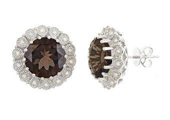 9 CARAT QUARTZ & DIAMOND HALO EARRINGS STERLING SILVER 13mm