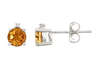 .93 CARAT CITRINE & DIAMOND EARRINGS 5mm ROUND CUT NOVEMBER BIRTH STONE