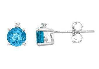 1.13 CARAT BLUE TOPAZ & DIAMOND EARRINGS 5mm ROUND CUT DECEMBER BIRTH STONE