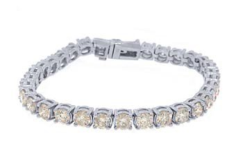 "WOMENS DIAMOND TENNIS LINK BRACELET 13.38 CARAT ROUND CUT WHITE GOLD 7"" INCH"