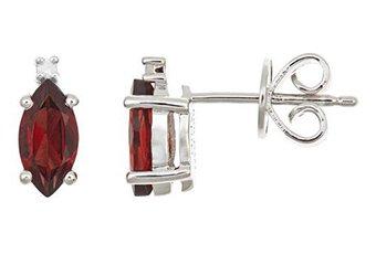 1.22 CARAT GARNET & DIAMOND EARRINGS MARQUISE SHAPE JANUARY BIRTH STONE