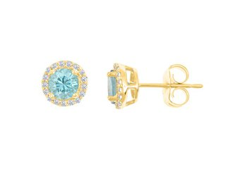 BLUE ZIRCON & ROUND DIAMOND STUD HALO EARRINGS 6mm 14KT YELLOW GOLD