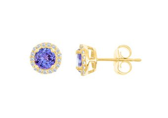 TANZANITE & ROUND DIAMOND STUD HALO EARRINGS 6mm 14KT YELLOW GOLD