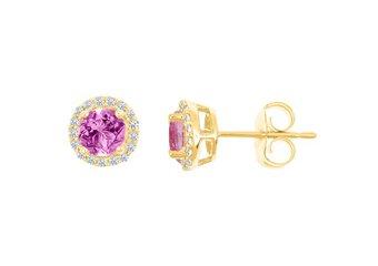 PINK SAPPHIRE & ROUND DIAMOND STUD HALO EARRINGS 6mm 14KT YELLOW GOLD