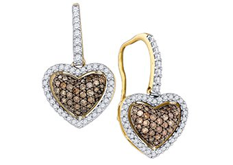 .64 CARAT HEART SHAPE BROWN CHAMPAGNE DIAMOND HALO DANGLE EARRINGS YELLOW GOLD