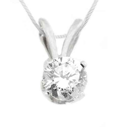 1/2CT Solitaire Diamond Pendant 14KT White Gold Brilliant Round Cut Prong Set
