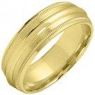 MENS WEDDING BAND ENGAGEMENT RING YELLOW GOLD SATIN & HIGH GLOSS FINISH 6mm