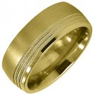 MENS WEDDING BAND ENGAGEMENT RING YELLOW GOLD SATIN & HIGH GLOSS FINISH 7mm