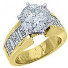 5 CARAT WOMENS DIAMOND ENGAGEMENT RING ROUND PRINCESS BAGUETTE CUT YELLOW GOLD
