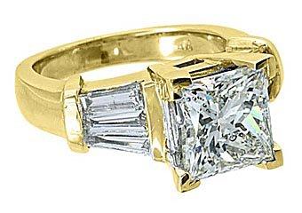4 CARAT WOMENS DIAMOND ENGAGEMENT RING PRINCESS BAGUETTE CUT YELLOW GOLD SI2-3/I